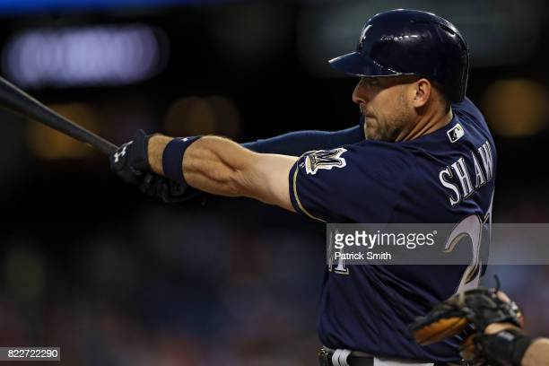 Travis Shaw of the Milwaukee Brewers hits a home run during the fourth inning against the Washington Nationals at Nationals Park on July 25 2017 in...