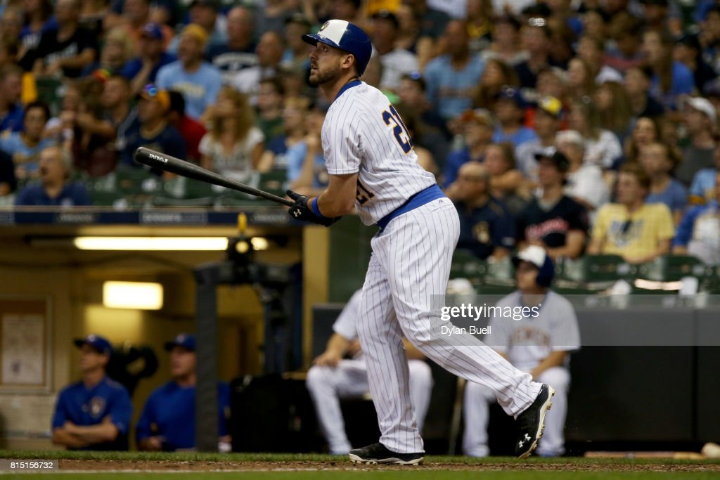 Travis Shaw #21 of the Milwaukee Brewers hits a home run in the eighth inning against the Philadelphia Phillies at Miller Park on July 15, 2017 in Milwaukee, Wisconsin.
