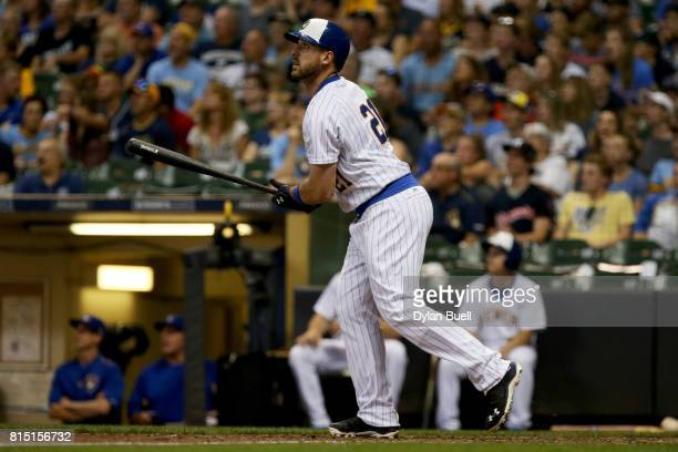 Travis Shaw of the Milwaukee Brewers hits a home run in the eighth inning against the Philadelphia Phillies at Miller Park on July 15 2017 in...