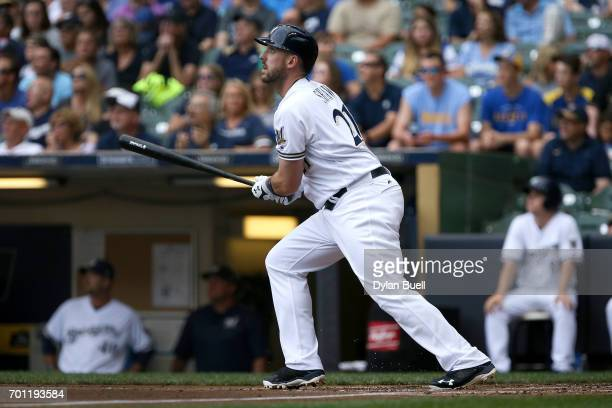 Travis Shaw of the Milwaukee Brewers hits a home run in the first inning against the Pittsburgh Pirates at Miller Park on June 22 2017 in Milwaukee...