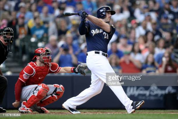 Travis Shaw of the Milwaukee Brewers hits a home run in the third inning against the Cincinnati Reds at Miller Park on June 23, 2019 in Milwaukee,...