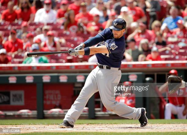 Travis Shaw of the Milwaukee Brewers hits a home run in the third inning against the Cincinnati Reds at Great American Ball Park on April 16 2017 in...