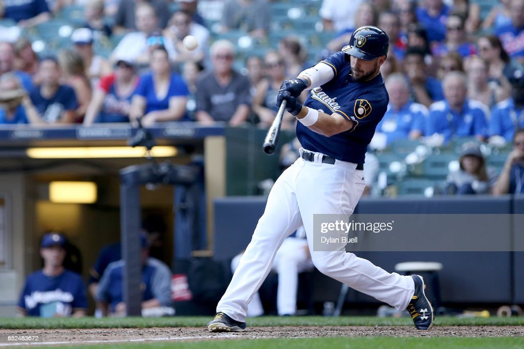 Travis Shaw #21 of the Milwaukee Brewers hits a walk off home run in the tenth inning to beat the Chicago Cubs 4-3 in ten innings at Miller Park on September 23, 2017 in Milwaukee, Wisconsin.