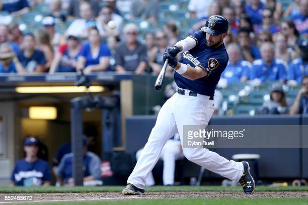 Travis Shaw of the Milwaukee Brewers hits a walk off home run in the tenth inning to beat the Chicago Cubs 43 in ten innings at Miller Park on...