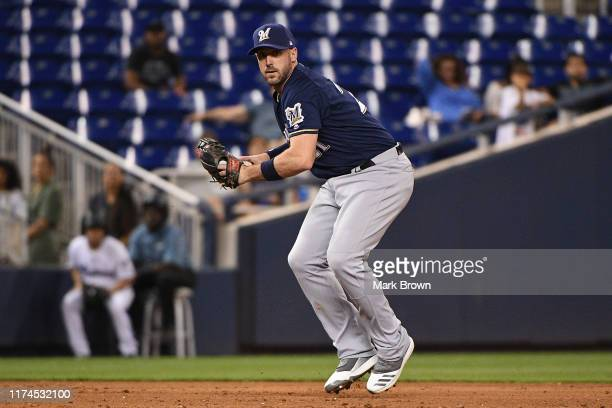 Travis Shaw of the Milwaukee Brewers in action against the Miami Marlins at Marlins Park on September 09, 2019 in Miami, Florida.