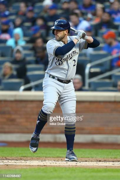Travis Shaw of the Milwaukee Brewers in action against the New York Mets at Citi Field on April 27, 2019 in New York City. Milwaukee Brewers defeated...