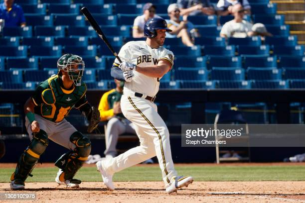 Travis Shaw of the Milwaukee Brewers in action against the Oakland Athletics in the fourth inning during the MLB spring training game on March 02,...