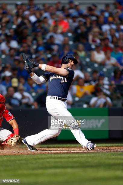 Travis Shaw of the Milwaukee Brewers makes some contact at the plate during the game against the Washington Nationals at Miller Park on September 03...