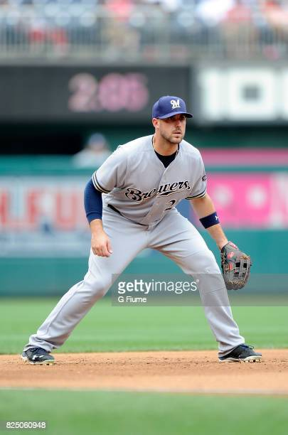 Travis Shaw of the Milwaukee Brewers plays third base against the Washington Nationals at Nationals Park on July 27 2017 in Washington DC