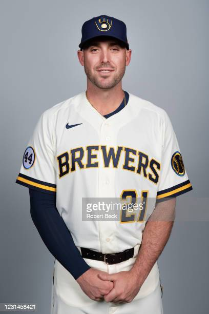 Travis Shaw of the Milwaukee Brewers poses during Photo Day on Wednesday, February 24, 2021 at American Family Fields of Phoenix in Phoenix, Arizona.