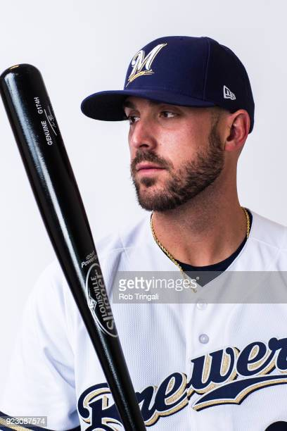 Travis Shaw of the Milwaukee Brewers poses for a portrait during Photo Day at the Milwaukee Brewers Spring Training Complex on February 22 2018 in...