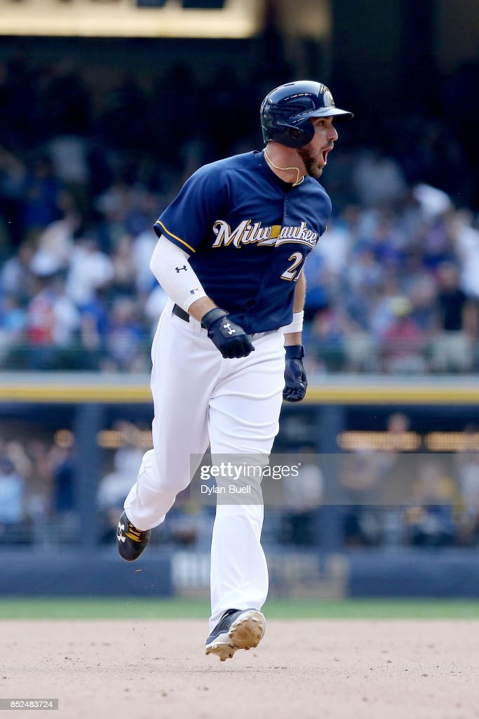 Travis Shaw #21 of the Milwaukee Brewers reacts after hitting a walk off home run to beat the Chicago Cubs 4-3 in ten innings at Miller Park on September 23, 2017 in Milwaukee, Wisconsin.