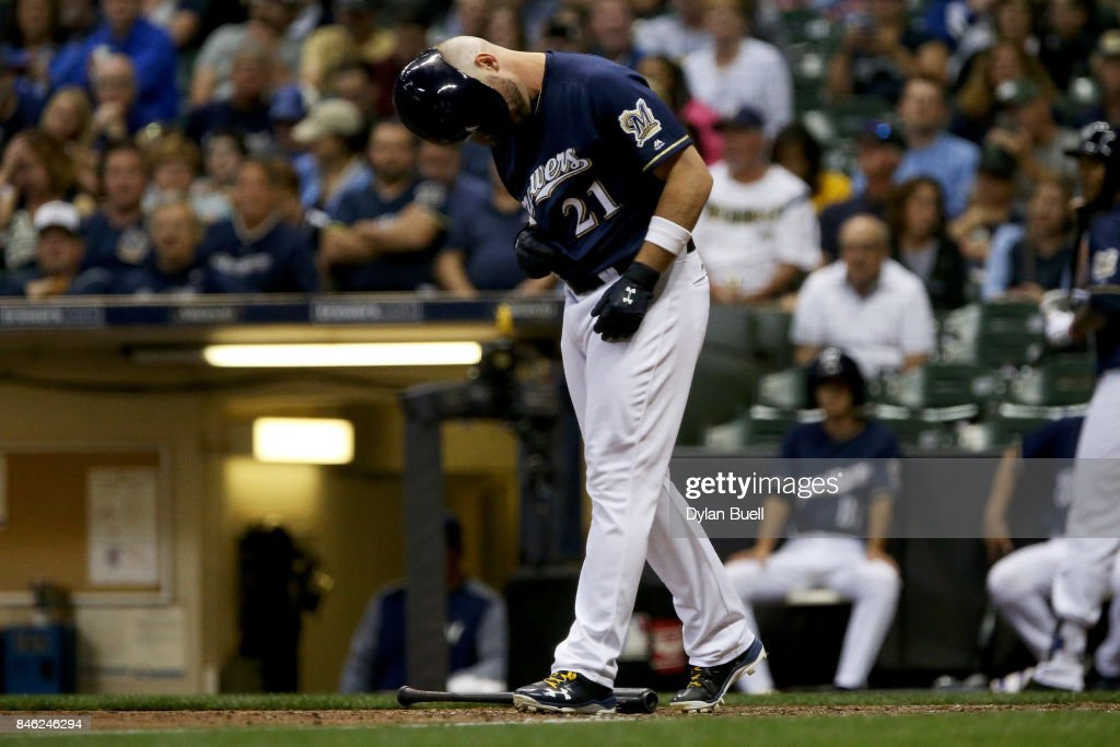 Travis Shaw #21 of the Milwaukee Brewers reacts after striking out in the fifth inning against the Pittsburgh Pirates at Miller Park on September 12, 2017 in Milwaukee, Wisconsin.