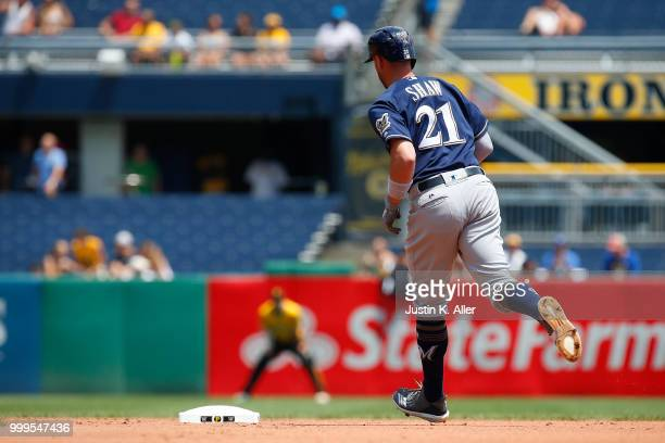 Travis Shaw of the Milwaukee Brewers rounds second after hitting a home run in the second inning against the Pittsburgh Pirates at PNC Park on July...