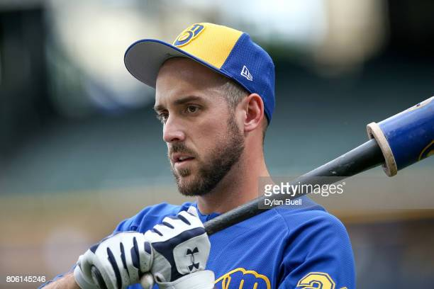 Travis Shaw of the Milwaukee Brewers warms up before the game against the Miami Marlins at Miller Park on June 30 2017 in Milwaukee Wisconsin