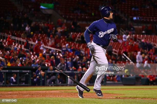 Travis Shaw of the Milwaukee Brewers watches the ball after hitting the gamewinning threerun home run against the St Louis Cardinals in the tenth...
