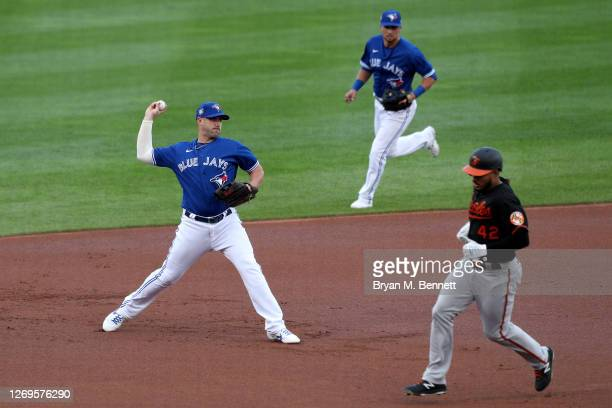 Travis Shaw of the Toronto Blue Jays throws a ball hit by Pedro Severino of the Baltimore Orioles during the first inning against the Baltimore...