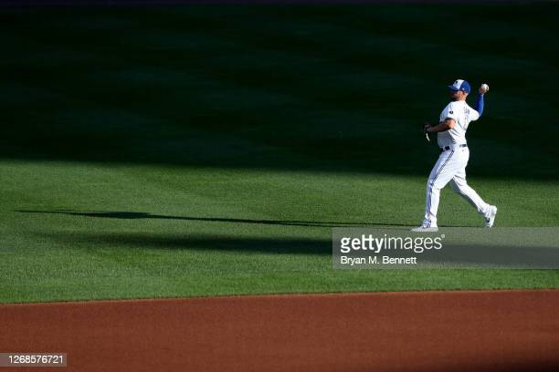 Travis Shaw of the Toronto Blue Jays warms up before an MLB game against the Boston Red Sox at Sahlen Field on August 25, 2020 in Buffalo, New York....