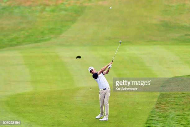 Travis Smyth of Australia plays a shot during day two of the ISPS Handa New Zealand Golf Open at The Hills Golf Club on March 2 2018 in Queenstown...