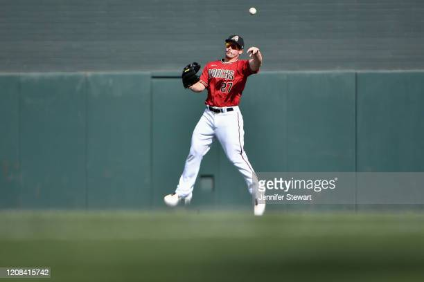 Travis Snider of the Arizona Diamondbacks in action during the spring training game against the Oakland Athleticsat Salt River Fields at Talking...