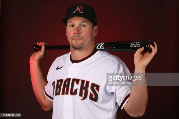 Travis Snider of the Arizona Diamondbacks poses for a portrait during MLB media day at Salt River Fields at Talking Stick on February 21, 2020 in...