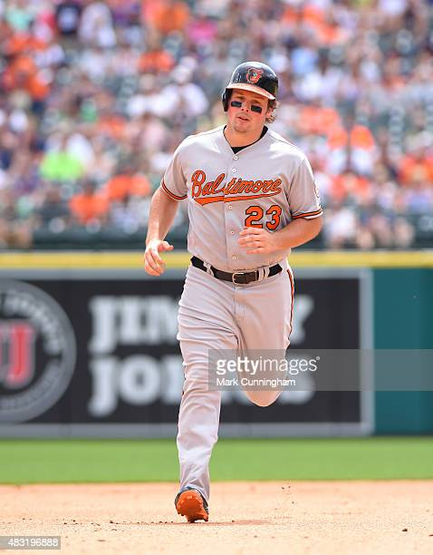 Travis Snider of the Baltimore Orioles runs the bases during the game against the Detroit Tigers at Comerica Park on July 19, 2015 in Detroit,...