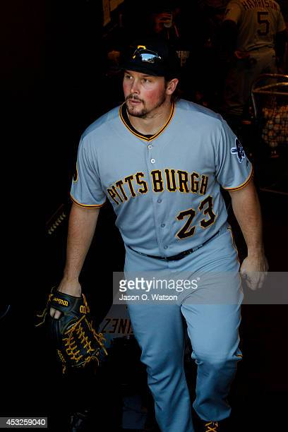 Travis Snider of the Pittsburgh Pirates enters the dugout before the game against the San Francisco Giants at AT&T Park on July 30, 2014 in San...