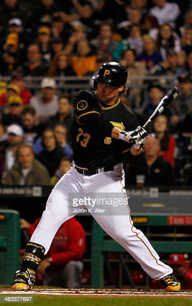 Travis Snider of the Pittsburgh Pirates plays against the St. Louis Cardinals during the game at PNC Park April 4, 2014 in Pittsburgh, Pennsylvania.