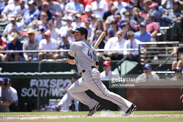 Travis Snider of the Toronto Blue Jays bats against the Texas Rangers at Rangers Ballpark on April 28, 2011 in Arlington, Texas. The Toronto Blue...