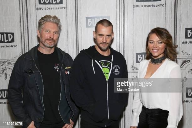 Travis Stevens Phil CM Punk Brooks and Trieste Kelly Dunn attend Build Series to discuss the horror film Girl on the Third Floor at Build Studio on...