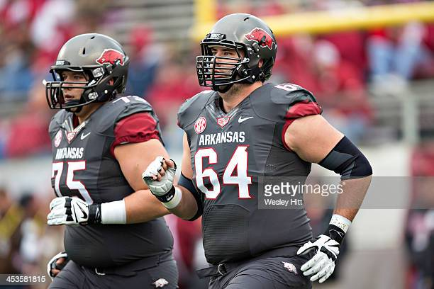 Travis Swanson of the Arkansas Razorbacks warming up before a game against the Mississippi State Bulldogs at War Memorial Stadium on November 23,...