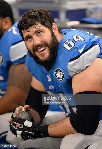 Travis Swanson of the Detroit Lions looks on from the sidelines during the game against the Oakland Raiders at Ford Field on November 22, 2015 in...