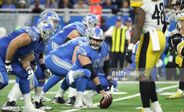 Travis Swanson of the Detroit Lions signals the play during the second quarter of the game against the Pittsburgh Steelers at Ford Field on October...