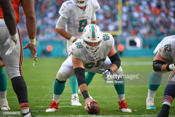 Travis Swanson of the Miami Dolphins in action against the Chicago Bears at Hard Rock Stadium on October 14 2018 in Miami Florida