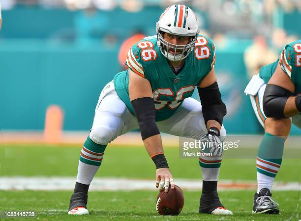 Travis Swanson of the Miami Dolphins in action against the Jacksonville Jaguars at Hard Rock Stadium on December 23, 2018 in Miami, Florida.