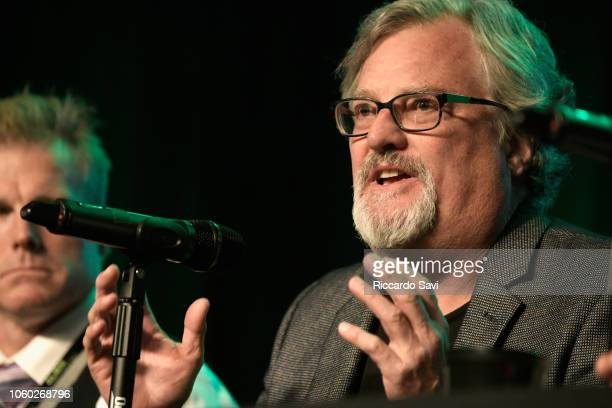 Travis Taylor and David Childress speak onstage at Ancient Aliens Alien Engineering during day 3 of AlienCon Baltimore 2018 at Baltimore Convention...