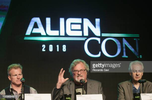 Travis Taylor David Childress and Nick Pope speak onstage at the Ancient Aliens Area 52 Secret Space Programs panel during Day 1 of AlienCon...