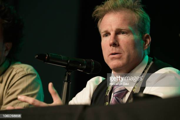 Travis Taylor speaks onstage at Ancient Aliens Alien Engineering during day 3 of AlienCon Baltimore 2018 at Baltimore Convention Center on November...
