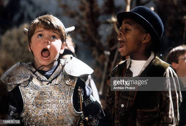 Travis Tedford and Kevin Jamal Woods yelling in a scene from the film 'The Little Rascals' 1994