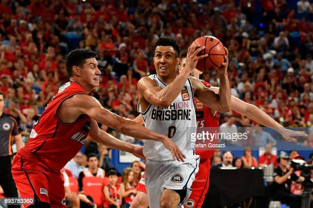 Travis Trice of the Bullets controls the ball during the round 10 NBL match between the Perth Wildcats and the Brisbane Bullets at Perth Arena on...