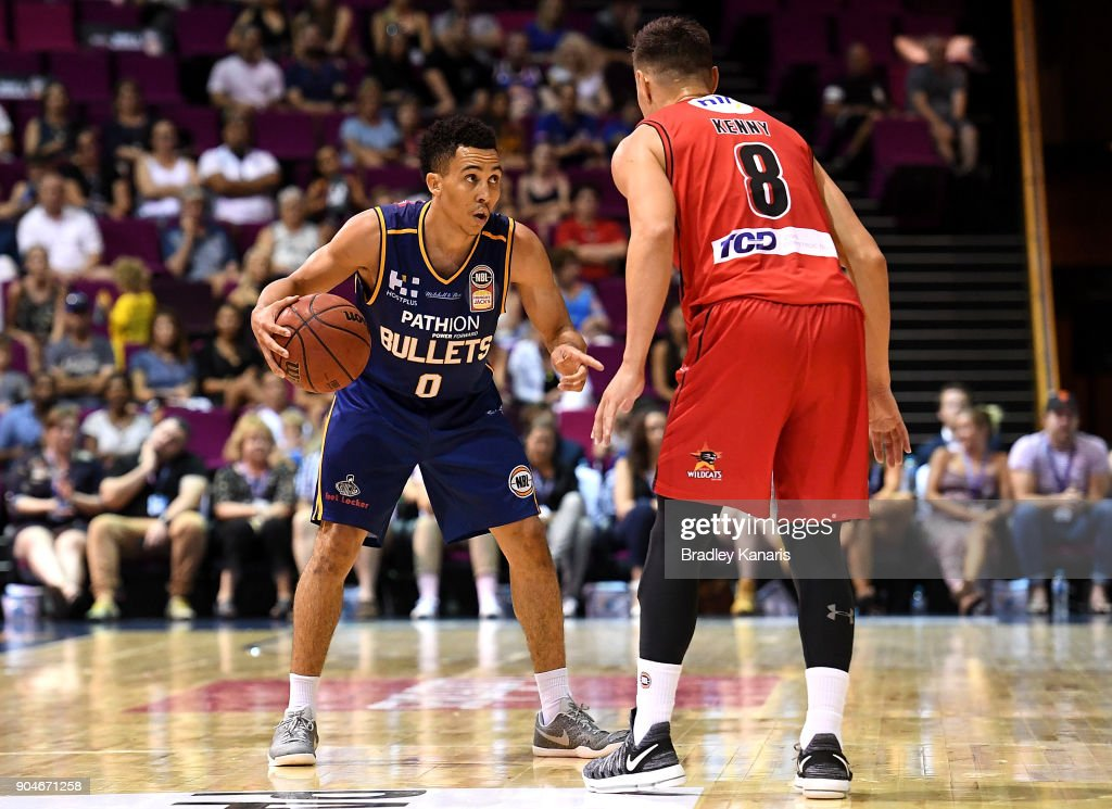 Travis Trice of the Bullets looks to take on the defence during the round 14 NBL match between the Brisbane Bullets and the Perth Wildcats at Brisbane Convention & Exhibition Centre on January 14, 2018 in Brisbane, Australia.