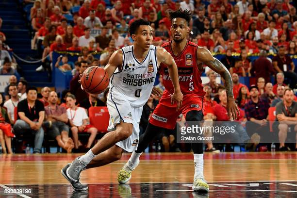 Travis Trice of the Bullets runs with the ball during the round 10 NBL match between the Perth Wildcats and the Brisbane Bullets at Perth Arena on...