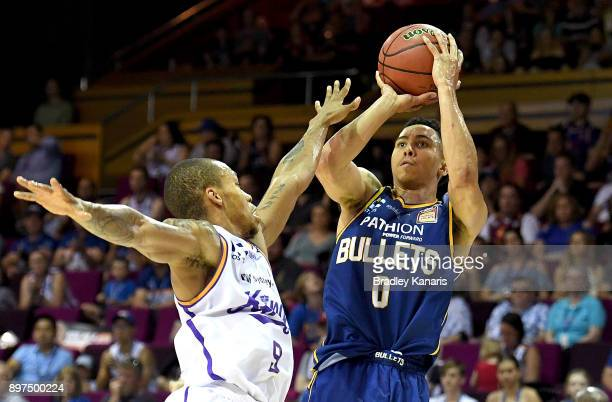 Travis Trice of the Bullets shoots during the round 11 NBL match between the Brisbane Bullets and the Sydney Kings at Brisbane Convention Exhibition...