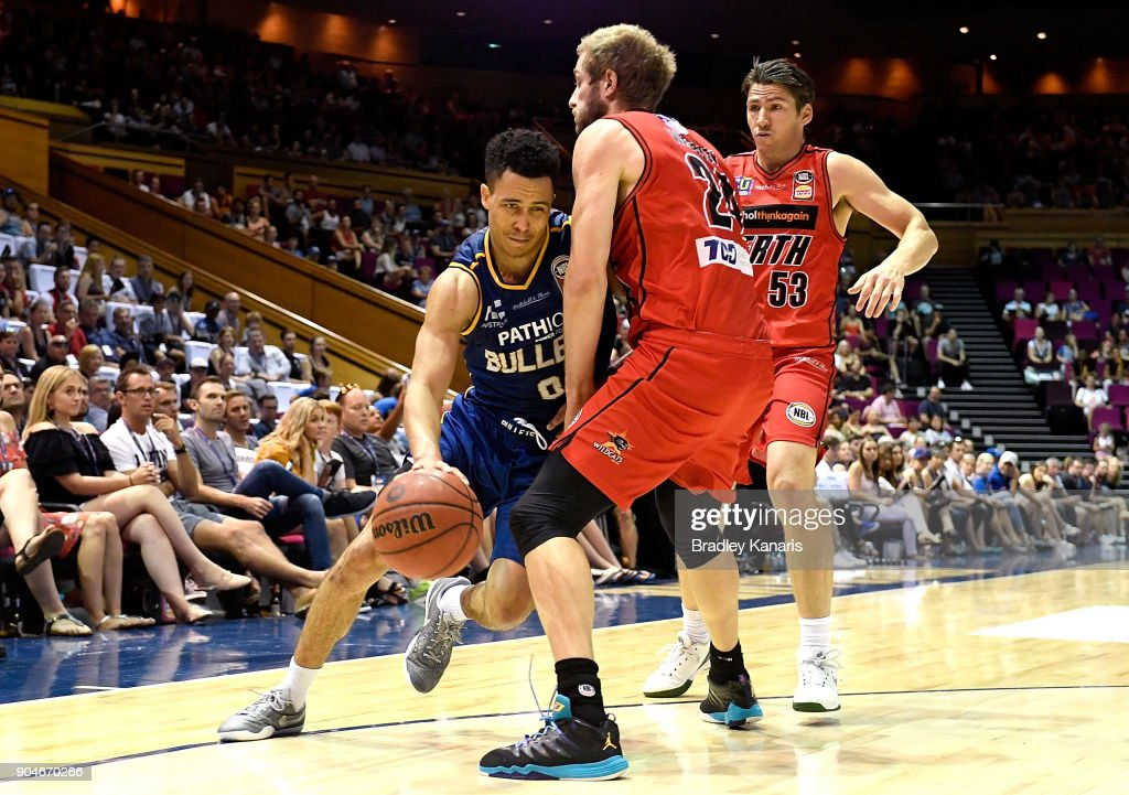 Travis Trice of the Bullets takes on the defence during the round 14 NBL match between the Brisbane Bullets and the Perth Wildcats at Brisbane Convention & Exhibition Centre on January 14, 2018 in Brisbane, Australia.