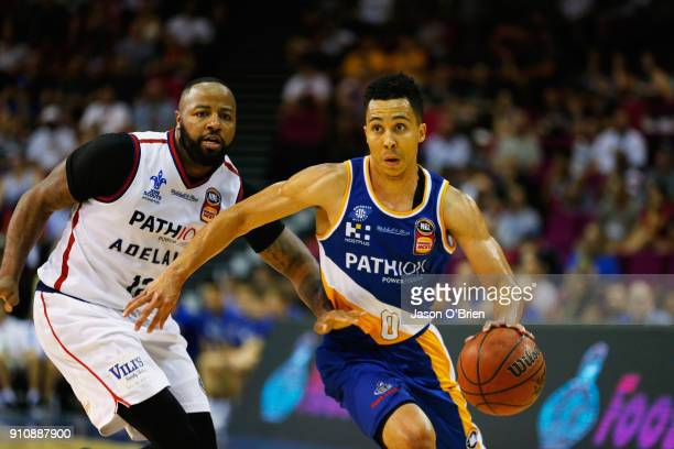 Travis Trice of the Bullets takes on the defence during the round 16 NBL match between the Brisbane Bullets and the Adelaide 36ers at Brisbane...