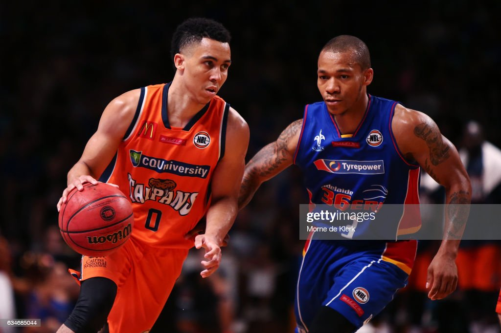 Travis Trice of the Cairns Taipans and Jerome Randle of the Adelaide 36ers compete during the round 19 NBL match between the Adelaide 36ers and the Cairns Taipans at Titanium Security Arena on February 11, 2017 in Adelaide, Australia.