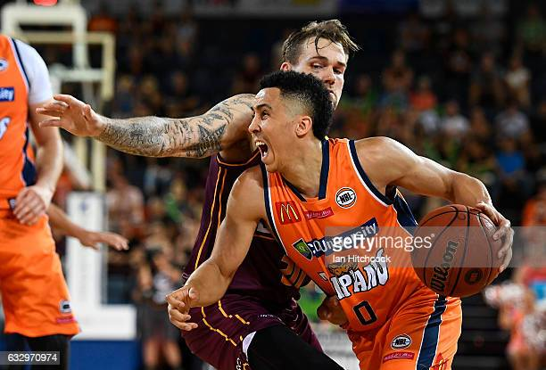 Travis Trice of the Taipans drives to the basket during the round 17 NBL match between the Cairns Taipans and the Brisbane Bullets at Cairns...