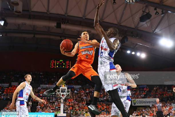 Travis Trice of the Taipans shoots during the round 19 NBL match between the Cairns Taipans and the Adelaide 36ers at the Cairns Convention Centre on...