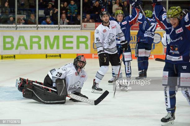 Travis Turnbull of Iserlohn celebrates after scoring his team`s second goal during the DEL match between Iserlohn Roosters and Thomas Sabo Ice Tigers...