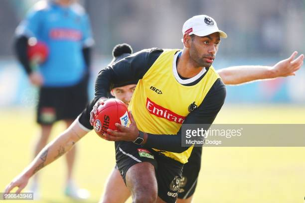 Travis Varcoe of the Magpies looks upfield during a Collingwood Magpies AFL press conference at the Holden Centre on July 12 2018 in Melbourne...